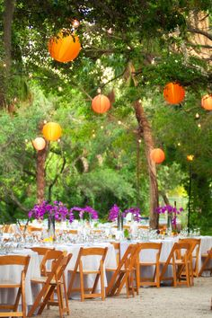 Orange and purple outdoor reception, tropical beach feel, Verve Studios, The Naked Florist, NK Productions