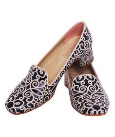 Look at this #zulilyfind! White & Black Filigree Loafer #zulilyfinds