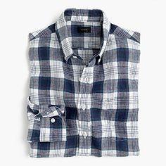 Slim délavé Irish linen shirt in plaid