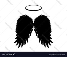Silhouette of black angel wings and halo on a white background. Spiritual icon and graphic element. Download a Free Preview or High Quality Adobe Illustrator Ai, EPS, PDF and High Resolution JPEG versions.