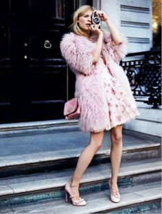 Lilah Uniform: Pink, Faux Fur, Quilted shoulder strap purse, great shoes.
