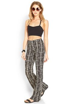 Tribal Print Bell Bottoms | FOREVER21 #ForeverFest #OOTD  For me, it's a NO to the crop top! BUT I LOVE the tribal flares!! I would wear a loose black top (dolman style) and tuck it in OR (better actually) a loose cool black tank top!! OH YES-tank top (black silk kind!!)