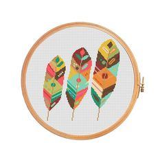 Feathers - modern cross stitch pattern - tribal boho aztec ethnic