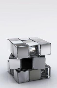 Love a rubix cube! Desk Layout, Sculpture, Silver Color, Office Decor, Decorative Boxes, Chrome, Objects, Design Inspiration, Pure Products