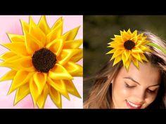 DIY for Girls : How to Make Kanzashi Satin Ribbon Sunflower | DIY Hair…