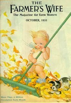 Baby Raking Leaves. Farmer's Wife Magazine, October 1931 (C. Twelvetrees)