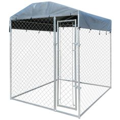 Hottest Absolutely Free Outdoor Dog Kennel with Canopy Top Silver(Metal) ., Hottest Absolutely Free Outdoor Dog Kennel with Canopy Top Silver(Metal) Thoughts Toda, Metal Dog Kennel, Canis, Aluminum Blinds, Pet Cage, Playpen, Outdoor Dog, Exterior, Bedding Shop, Animal House