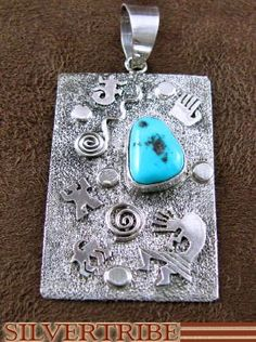 Native American Jewlery S. Skeets Sterling Silver Sleeping Beauty Turquoise Pendant NS51745