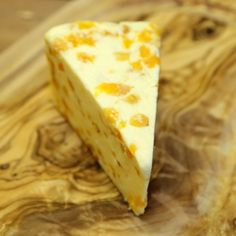 Cheese:  White Stilton with Apricots.  Found at Trader Joe's. Suggested as a dessert cheese well-paired with white zinfandel.