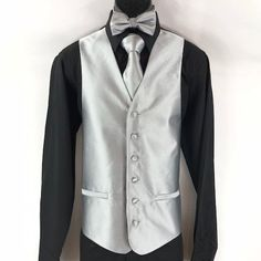 Men's 4 Piece Tuxedo Vest Set with Bow Tie Pocket Square Tie Silver with Black