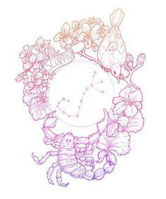 Zodiac Series II: SCORPIO Available in: cm x approx) sizes. High quality digitally coloured print of original ink drawing by Bird Black. Scorpio Zodiac Tattoos, Horoscope Tattoos, Sagittarius And Capricorn, Zodiac Signs Aquarius, Zodiac Art, Aquarius Constellation Tattoo, Capricorn Tattoo, Teal Art, Zodiac Constellations