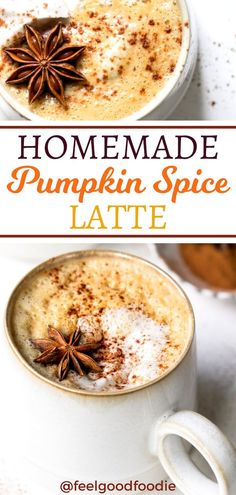 This Homemade Pumpkin Spice Latte is a copycat of the Starbucks popular drink but with half the calories, fat and sugar. What's more, it's made in a blender in under 5 minutes - no saucepan required! #EatGoodFeelGood #PumpkinSpice #Fall #Latte #Cozy