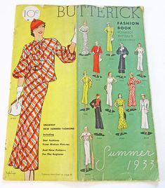 RARE Vintage Sewing Pattern Catalog Butterick Fashion Book Summer 1933