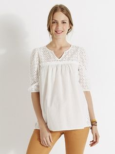 Blusa com bordado inglês, para grávida