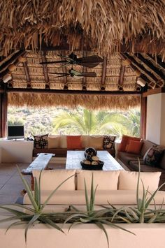 A thatched patio cover gives this space a tropical island vibe.