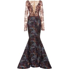 Romona Keveža Long Sleeve Beaded Gown ($8,890) ❤ liked on Polyvore featuring dresses, gowns, burgundy, burgundy dress, burgundy evening dress, long sleeve dresses, long sleeve ball gowns and v neck gown