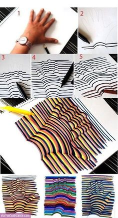 Learn how to draw a Hand Illusion. Super easy and a fun craft for kids! Learn how to draw a Hand Illusion. Super easy and a fun craft for kids! Bored At Work, Bored At School, Art School, High School, Middle School, Primary School Art, Design Elements, Projects To Try, Class Projects