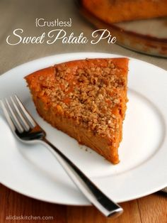 A delicious pie made with sweet potatoes, a brown sugar-oat crumble topping and without a crust.!  Since there is no crust, this dessert is a healthier alternative and super easy to make!