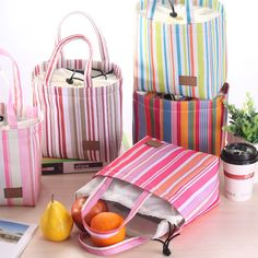 YIYOHI Fashion Stripe Cooler Insulated Tote Lunch Bag Women Children Zipper Cold Thermal Food Bag Box Neveras Termicas SKU007
