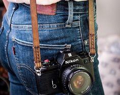 Handmade Leather Camera Neck Strap / Camera Neck Strap / Leather Camera strap Medium Brown