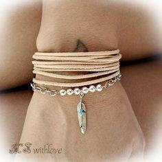 Leather Bracelet For Woman, Silver Chain Bracelet, Feather Bracelet, Boho Bracelets Set, Sterling Silver Beaded Bracelet