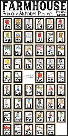 Home Interior Illustration Farmhouse Style Alphabet Posters for the Classroom. This packet comes with two versions of the Alphabet. The posters are full sheets of letter paper sized.