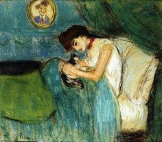 Pablo Picasso - Woman with Cat, 1900 #picasso #painting....cats are so soothing and they make me happy
