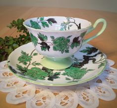 Vintage Shelley Teacup and Saucer, Ovington Pattern (13216), Bone China – c. 1940-1966, Gainsborough Cup Shape by ToZoTeacups on Etsy https://www.etsy.com/listing/269736298/vintage-shelley-teacup-and-saucer