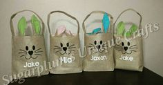 Personalized burlap bunny bags for Easter Check out this item in my Etsy shop https://www.etsy.com/listing/265202515/burlap-easter-bunny-bags
