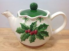 Otagiri Holly Berry Teapot Mary Ann Baker Christmas Holiday Embossed Vintage
