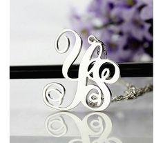 Personailzed Solid White Gold Celebrity 2 Initial Necklace