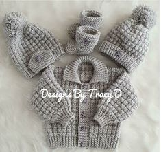 Noah baby cardigan hat and booties knitting pattern 3 sizes 0 knitting pattern by designs by tracy d Baby Cardigan Knitting Pattern Free, Baby Sweater Patterns, Baby Hats Knitting, Baby Patterns, Knitting For Kids, Lace Knitting, Designer Knitting Patterns, Knitting Patterns Boys, Christmas Knitting Patterns