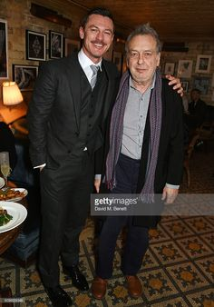 Luke Evans (L) and Stephen Frears attend Harvey Weinstein's pre-BAFTA dinner in partnership with Burberry and GREY GOOSE at Little House Mayfair on February 12, 2016 in London, England.