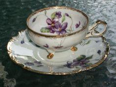 Vintage Trimont China Tea Cup and Saucer Set-Marked-Japan-Original Tag-Violets!!