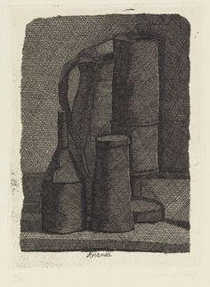 Giorgio Morandi - Natura morta con quattro oggetti - Acquaforte su rame, es. 4/30 - cm. 17,1x12,8 (lastra), cm. 25x18,9 (carta)