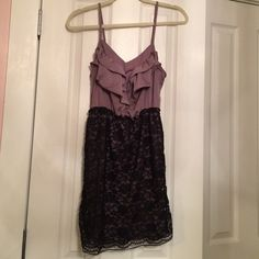 Purple lace dress with ruffles Barely worn, comfortable dress. Offers welcomed! Xhilaration Dresses Mini