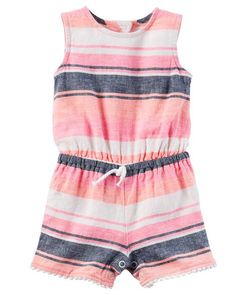 Baby Girl Striped Romper from Carters.com. Shop clothing & accessories from a trusted name in kids, toddlers, and baby clothes.