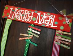 Merry Mail Christmas Card holder  custom hand painted cute original sign display clothespins. $39.00, via Etsy.