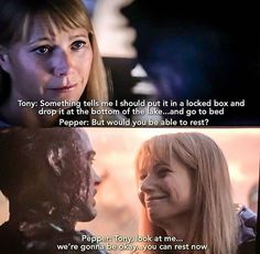 In Avengers: Endgame Potts asks Tony if he will be able to rest before the snap and tells him he can rest after the snap. Marvel Comics, Marvel Jokes, Avengers Memes, Marvel Funny, Marvel Heroes, Marvel Avengers, Deadpool, Tony Stark, Marvel Universe