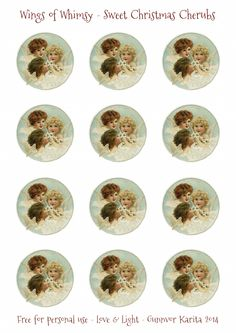 Wings of Whimsy: Sweet Christmas Cherubs - 2 inch printable vintage collage sheet
