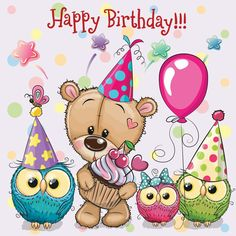 Teddy Bear and owls with balloon and bonnets. Birthday card with Teddy Bear and owls with balloon and bonnets royalty free illustration Happy Birthday Dachshund, Happy Birthday Bear, Happy Birthday Celebration, Happy Birthday Wishes Cards, Happy Birthday Pictures, Happy Birthday Quotes, Card Birthday, Clipart, Balloons