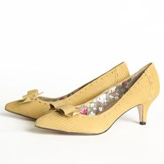 """Seychelles Province Bow Kitten Heels 106.99 at shopruche.com. These faux suede heels in a soft mustard hue have tonal stitching, a textured finish, and a neatly tied bow for a touch of sophistication.  All man-made materials 2.25"""" heel Slightly padded sole"""
