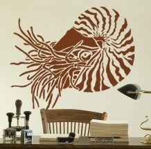 Stencil for walls - NAUTILUS - Reusable Wall STENCIL - Durable Wall Art/DIY Home Decor. $39.95, via Etsy.