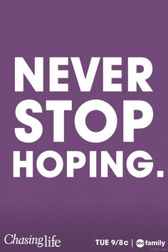 Never stop HOPING. Never stop CHASING LIFE. April Carver on ABC Family's Chasing Life just got diagnosed with cancer but she's ready to fight for her life.Don't miss the Chasing Life summer finale Tuesday August 12 at 9/8c only on ABC Family