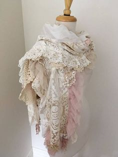vintage lace scarf, patchwork lace scarf, boho lace scarf