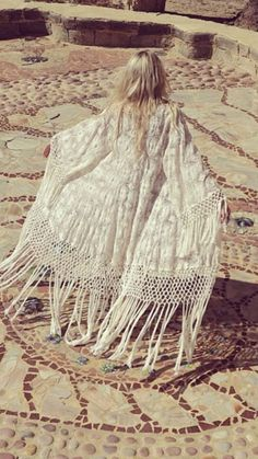 urbanNATURES Beach Style: White Fringe Caftan. This spring and summer's staple.