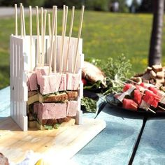This easy-to-use BBQ Skewer Maker Box is the ultimate BBQ gadget! It allows you to make up to 16 fruit, veggie or meat kebabs without the hassle or the mess! Simply season and prepare your meats, veggies or fruits then, place all of the desired layers of Bbq Grill, Barbecue, Meat Skewers, Kebabs, Bite Size Food, Gudrun, Bbq Party, Kitchen Essentials, Types Of Food