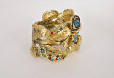 Huge Bold Clamp Bracelet w~ Multi Color Rhinestones in Antiqued Gold Tone NWOT $24.77