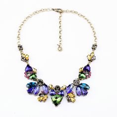 Free Shipping Antique Gorgeous Blue Glass Crystal Stones Statement Necklace Retro Women Bubble Party Anniversary Choker Jewelry $16.99