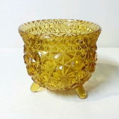 Vintage Amber Pressed Glass Daisy Button Pattern 3 Footed Bowl LE Smith Fenton